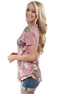 Sexy Dusty Pink Floral V Neck Short Sleeve T-shirt