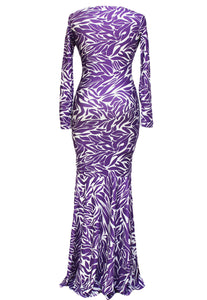 Sexy Evening Party Royal Tribal Mermaid Leaves Print Maxi Dress