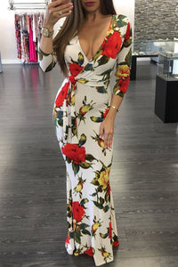 Sexy Floral Deep V Long Sleeve Maxi Boho Dress