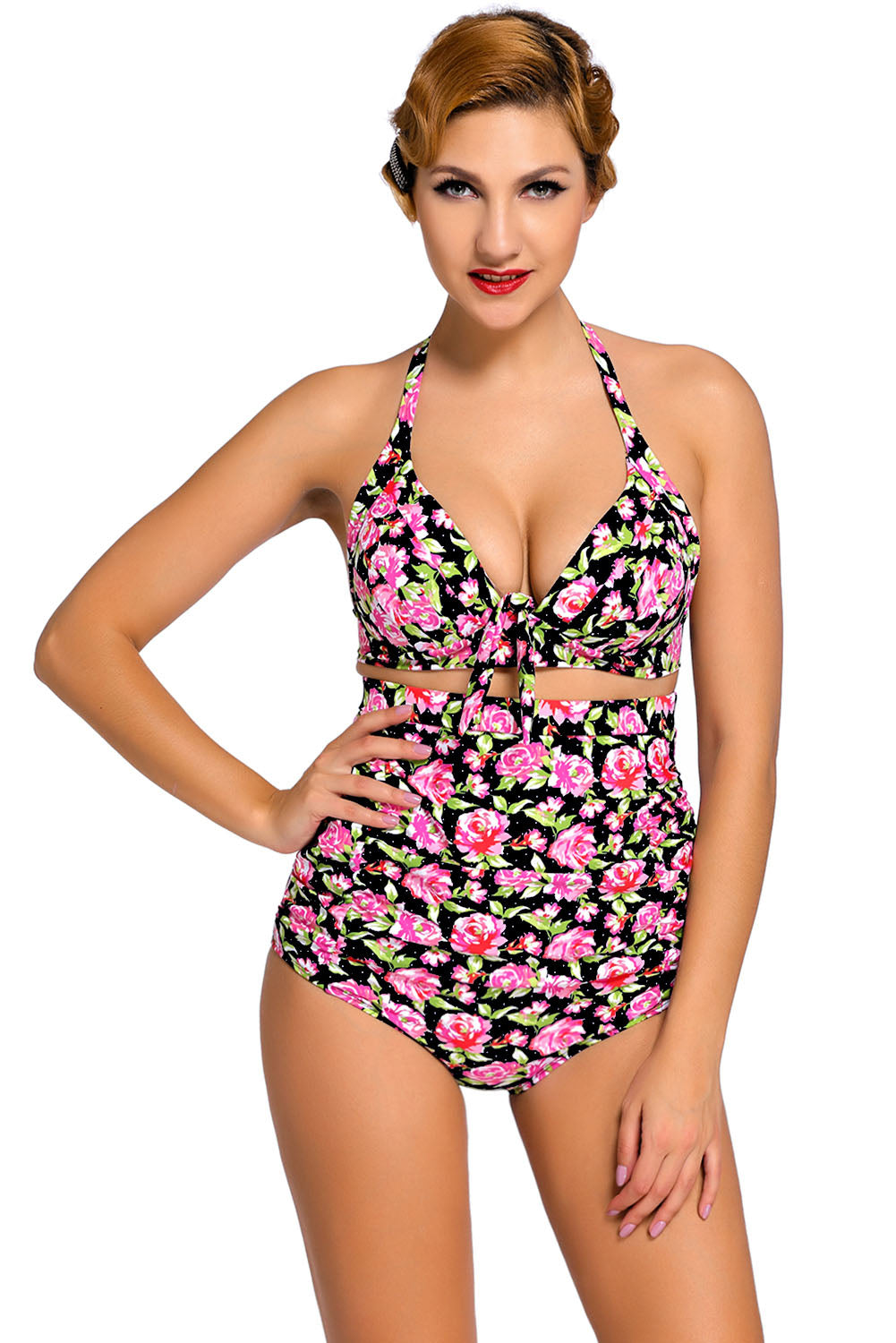 adb9943dc9933 Sexy Floral Print Black Retro High Waist 2 Pieces Swimsuit – SEXY  AFFORDABLE CLOTHING