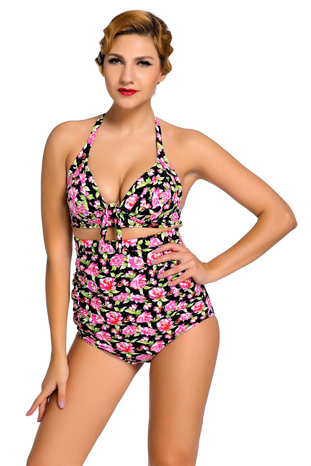 c528663669a32 Sexy Floral Print Black Retro High Waist 2 Pieces Swimsuit – SEXY ...