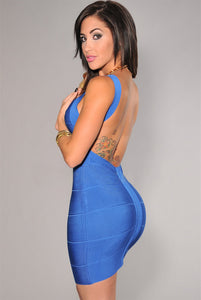 Sexy Girl Backless Bandage Dress in Blue