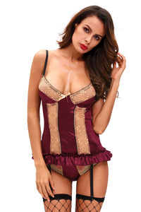 Sexy Gold Lace Detail Purple Satin Bustier Lingerie Set