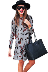 Sexy Gray Feather Graphic Pocket Tunic Dress