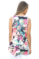 Sexy Gray Front Floral Print Back High-low Hem Tank