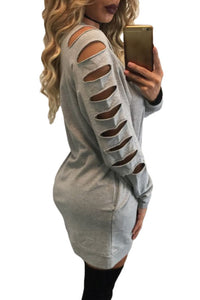 Sexy Gray Sporty Long-Hollow-Sleeves Cotton Shift Dress