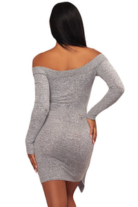 Sexy Gray V Neck Long Sleeve Tie Waist Knit Dress