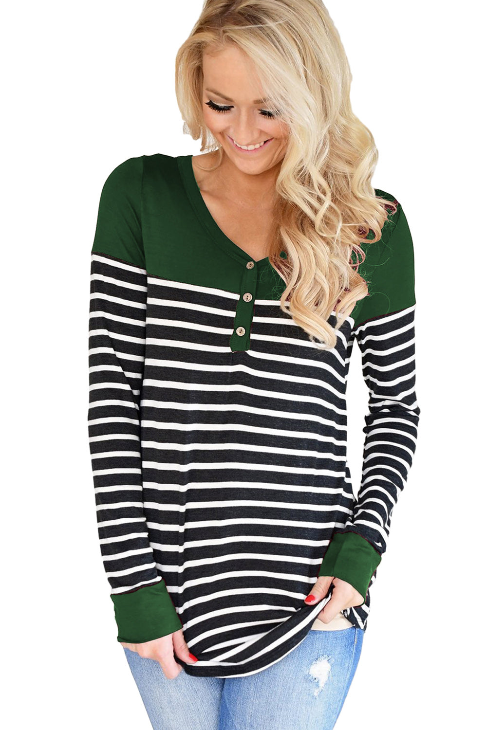ee0f7179015 Sexy Green Color Block Striped Bodice Top – SexyAffordableClothing