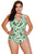 Sexy Green Leaf Print Halterneck One Piece Swimsuit