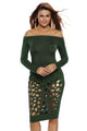 Sexy Green Long Sleeve Off Shoulder Hollow Out Bodysuit Dress