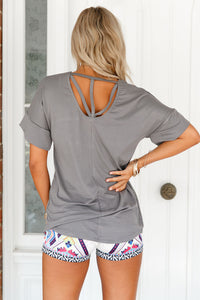 Sexy Grey Chic Relaxing Fit Pocket Front Hollow-out Blouse