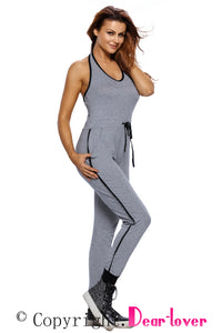 Sexy Grey Drawstring Waist V Neck Sleeveless Jumpsuit