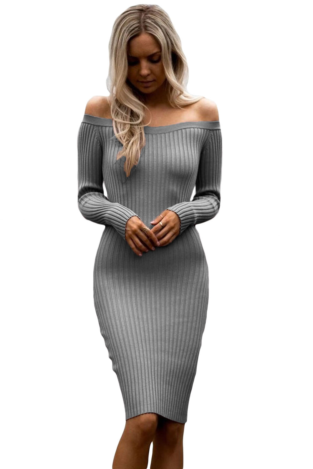e85739c4cc6 Sexy Grey Off Shoulder Long Sleeve Rib Knit Sweater Dress – SEXY AFFORDABLE  CLOTHING