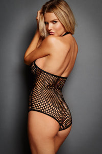 Sexy Hot Sexy Fishnet Zip Front Halter Teddy