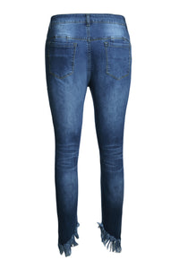 Sexy Indigo Blue Whiskered Destroy Stylish Skinny Jeans