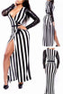Sexy Jail Bait Striped Patchwork Maxi Club Dress