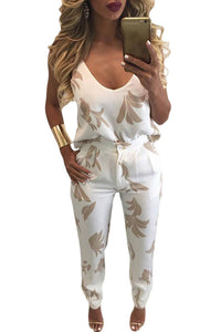 Sexy Khaki Pattern V Neck Top and Pencil Trousers