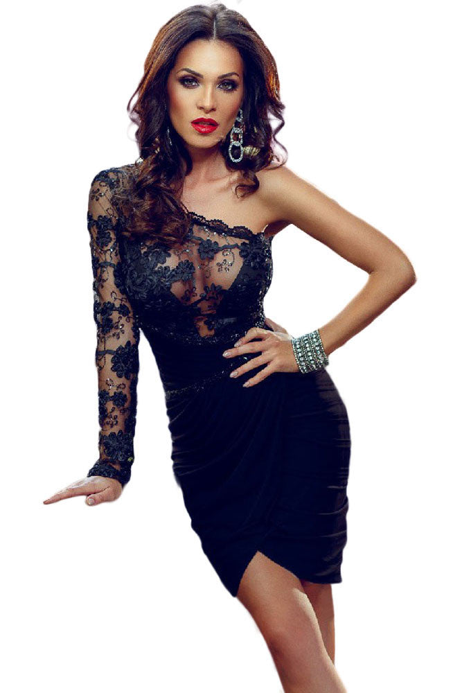 b892587fdb Sexy Lace Bodice One Sleeve Party Dress – SEXY AFFORDABLE CLOTHING