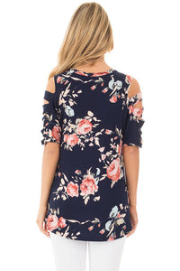 Sexy Ladder Cutout Sleeve Navy Floral Top