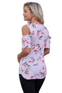 Sexy Lavender Floral Print Crisscross Neck Cold Shoulder Top