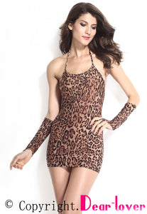 Sexy Leopard Chemise Dress with Gloves
