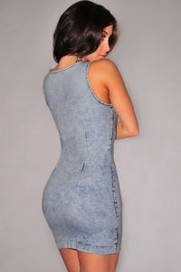 Sexy Light Acid Wash Denim Gold Zipper Accent Dress