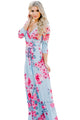 Sexy Light Blue Blooming Flower Print Wrap V Neck Boho Dress