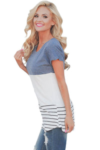 Sexy Light Blue Color Block Striped Long Top