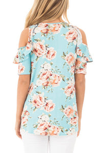 Sexy Light Blue Floral Cold Shoulder Top with Ruffle Sleeve