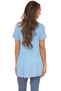 Sexy Light Blue Sweetheart Neckline Babydoll Style T-shirt