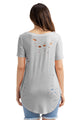 Sexy Light Grey Crisscross Neckline Distressed Cotton T-shirt