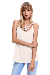 Sexy Light Pink Spaghetti Strap Tank Top with Caged Neckline