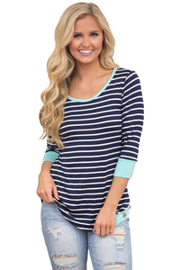 Sexy Mint Trim Accent Striped Side Button Blouse