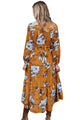 Sexy Mustard Floral Print Long Sleeve Boho Maxi Dress