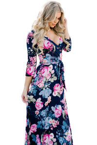 Sexy Navy Blue Big Flower Print Wrap V Neck Boho Dress