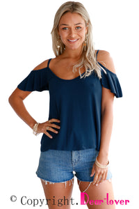 Sexy Navy Blue Crisscross Back Ruffle Cold Shoulder Top