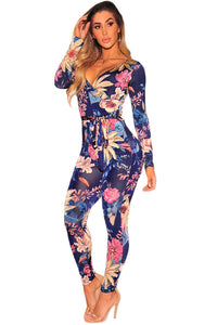 Sexy Navy Blue Floral Faux Wrap Long Sleeve Jumpsuit
