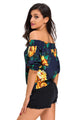 Sexy Navy Blue Floral Off-the-shoulder Top