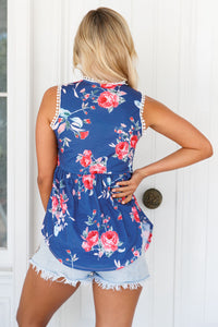 Sexy Navy Blue Floral Pompom Lace Trim Flowy Tank Top