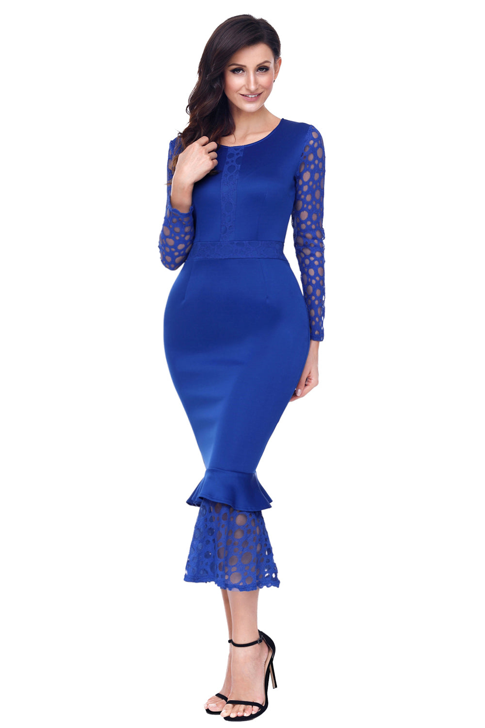 f3f4f184881 Sexy Navy Blue Hollow-out Long Sleeve Lace Ruffle Bodycon Midi Dress ...