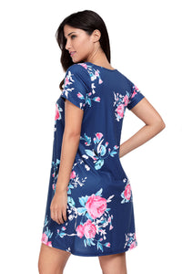 Sexy Navy Blue Pocket Design Summer Floral Shirt Dress