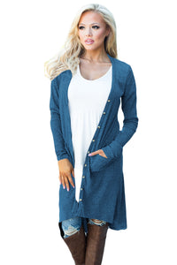 Sexy Navy Blue Ribbed Hi Low Long Cardigan with Pockets