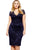 Sexy Navy Blue Scalloped V-neck Lace Plus Size Midi Dress