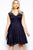 Sexy Navy Blue Scalloped V-neck Lace Plus Size Skater Dress