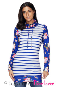 Sexy Navy Striped and Floral Sweatshirt