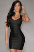 Sexy New Fashion Black Foil Print Bandage Dress Celebrity Style