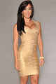 Sexy New Fashion Gold Foil Print Bandage Dress Celebrity Style