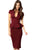 Sexy Noble V-neck Midi Peplum Dress Claret