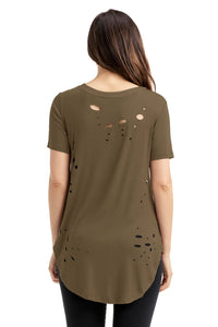 Sexy Olive Crisscross Neckline Distressed Cotton T-shirt