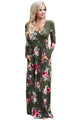 Sexy Olive Floral Surplice Long Sleeve Maxi Boho Dress